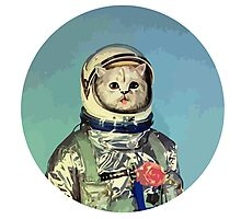 Cute cat astronaut with rose Photographic Print