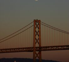 full moon over the San Francisco Bay Bridge by fototaker
