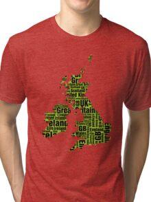 Typographic British Isles - Martian Green and Black Tri-blend T-Shirt