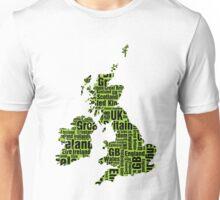 Typographic British Isles - Martian Green and Black Unisex T-Shirt