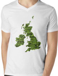 Typographic British Isles - Martian Green and Black Mens V-Neck T-Shirt