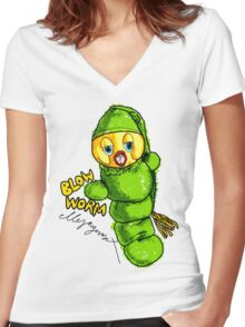 Blow Worm Women's Fitted V-Neck T-Shirt
