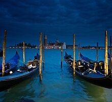 Gondolas at St Marks Square by Bruce Alexander