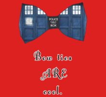 """Bow Ties ARE Cool."" - Dr. Who (image + quote) Kids Tee"