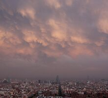 barcelona cloud layers at sunset, agbar tower by sjaakzoon