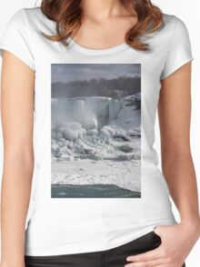 Niagara Falls Ice Buildup - American Falls, New York State, USA Women's Fitted Scoop T-Shirt