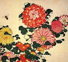 'Chrysanthemum and Bee' by Katsushika Hokusai (Reproduction) by Roz Abellera Art Gallery