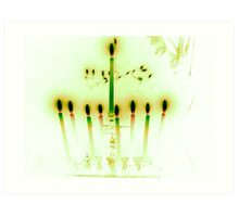 Hanukkah Candles Reflected in Pale Green Art Print