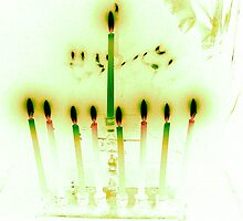 Hanukkah Candles Reflected in Pale Green by Lesley Rosenberg