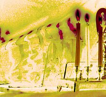 Bent Hanukkah Candles in Pink by Lesley Rosenberg