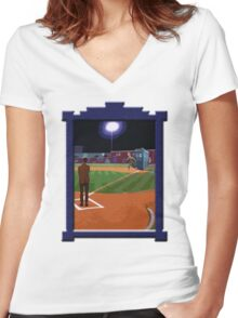 Dr. Who's on First Base Women's Fitted V-Neck T-Shirt