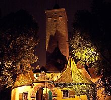 Rothenburg - Burgtor by Night #1 by David J Dionne