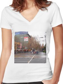 A rainy day in Melbourne VIC Australia  Women's Fitted V-Neck T-Shirt