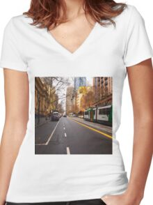 Collins Street Melbourne VIC Australia Women's Fitted V-Neck T-Shirt