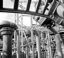 Roller Coaster, Alton Towers - B/W by corder-courtier
