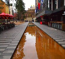 City Square on a wet day Melbourne VIC Australia by Margaret Morgan (Watkins)