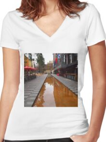 City Square on a wet day Melbourne VIC Australia Women's Fitted V-Neck T-Shirt
