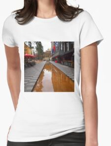 City Square on a wet day Melbourne VIC Australia Womens Fitted T-Shirt