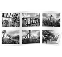 Roller Coaster, Alton Towers - B/W Collage Poster