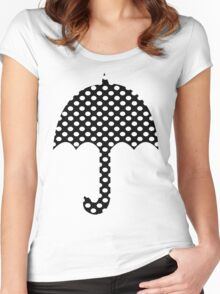 Black And White Polka Dots   Women's Fitted Scoop T-Shirt