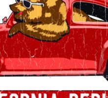 California Republic Surfing Bear (vintage distressed look) Sticker