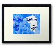 Echoed Face and Roses in Blue Framed Print