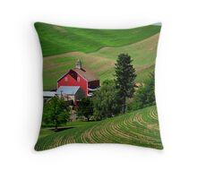 Palouse Red Barn Throw Pillow