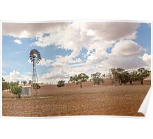 Windmill...Ploughed Paddocks... Poster