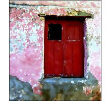 Red Door, the Rain, the Old Wall Photographic Print