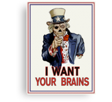 Uncle Sam Zombie Canvas Print