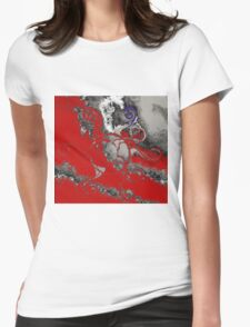 Red and Grey Womens Fitted T-Shirt