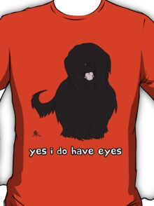 Black Briard - Yes, I have eyes. w/ TEXT T-Shirt