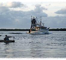 """Sea Hunter"" & two men in a ""tinnie"" by KarenEaton"