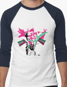 American Flag- Abrosexual Pride Men's Baseball ¾ T-Shirt