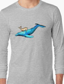 Deer Riding Whale Long Sleeve T-Shirt