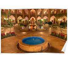 The Amazing Abbasi Hotel - Blue & Gold Courtyard Fountains - Esfahan - Iran Poster
