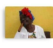Cuban Woman with cigar Canvas Print