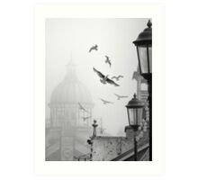 seagulls on eastbourne pier in the mist Art Print