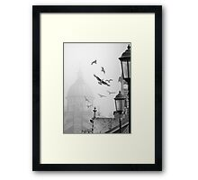 seagulls on eastbourne pier in the mist Framed Print