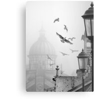 seagulls on eastbourne pier in the mist Metal Print