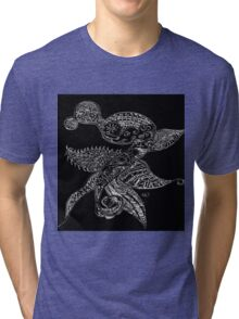 Black and White Sketch Abstract Dragon Tri-blend T-Shirt