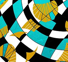 Block abstract art black and teal with gold and white accents by ackelly4