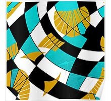 Block abstract art black and teal with gold and white accents Poster