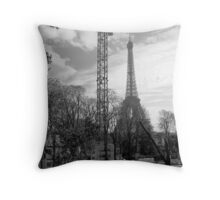Eiffel from right bank Throw Pillow