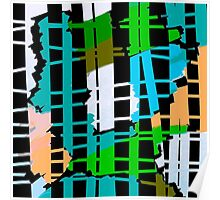 Abstract colorful teal aqua green orange Poster