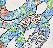 Water and Earth Zentangle Dragon by LiZzie-Ann