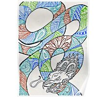 Water and Earth Zentangle Dragon Poster