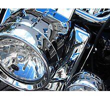 Harley's Lights - Harley Davidson Headlamps Photographic Print