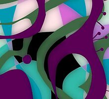 Glass look abstract, purple and teal art by ackelly4
