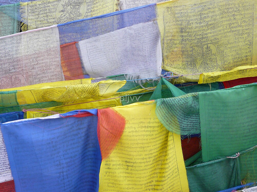 Colored buddhist prayer flags by pljvv